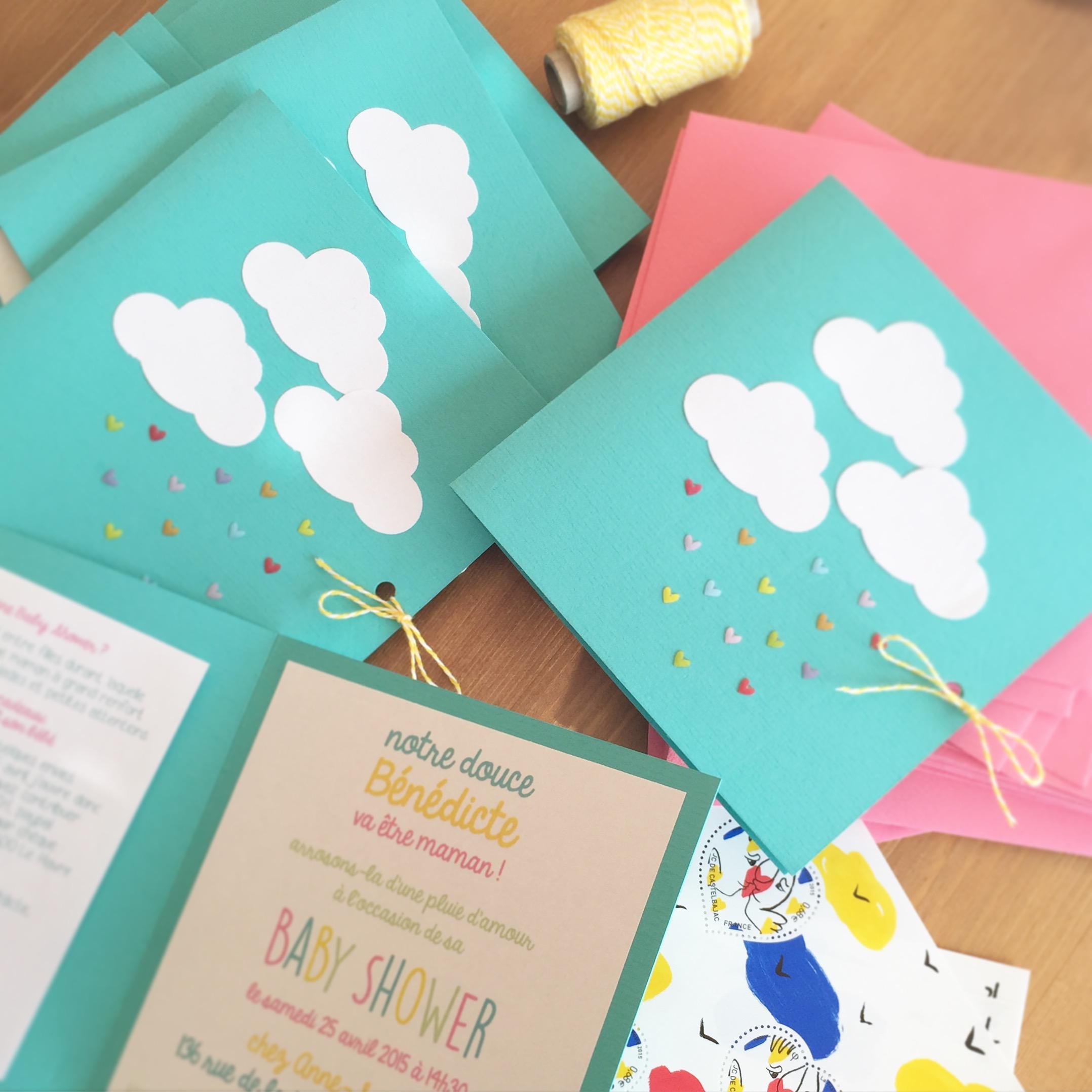 invitations baby shower nuage